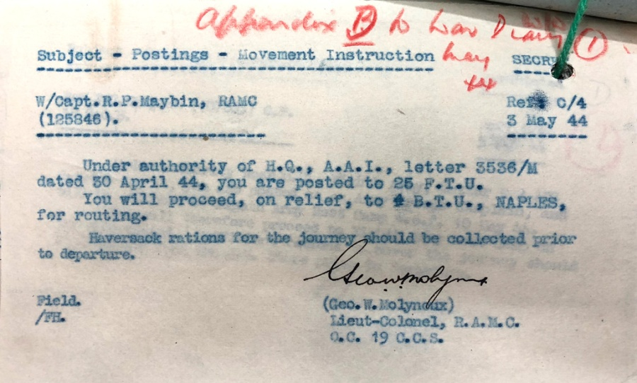 Patrick Maybin's Posting Orders 3 May 1944