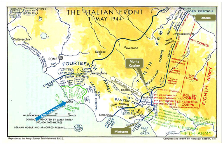 Map of the Gustav Line